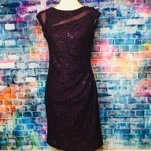 Scarlett Sequin Purple Lace Dress 6